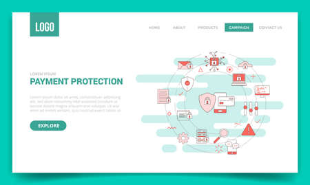 payment protection concept with circle icon for website template or landing page banner homepage outline style vector illustration