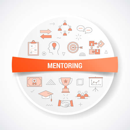 mentoring concept with icon concept with round or circle shape vector illustration