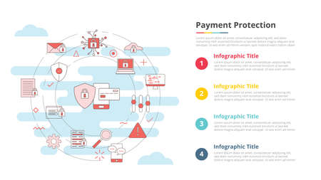 payment protection concept for infographic template banner with four point list information vector illustration Vectores
