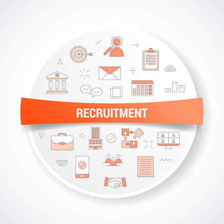recruitment concept with icon concept with round or circle shape vector illustration