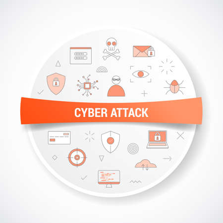 cyber attack concept with icon concept with round or circle shape vector illustration Vectores