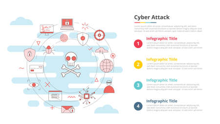 cyber attack concept for infographic template banner with four point list information vector illustration Vectores
