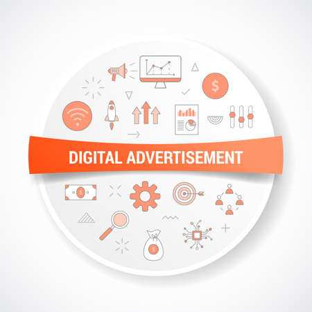 digital advertisement concept with icon concept with round or circle shape vector illustration