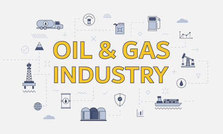 oil and gas industry concept with icon set with big word or text on center vector illustration