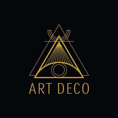 Triangle Geometric Art Deco Style suitable for any industries e.g jewelry logo, hotel logo, store logo, music logo, tshirt, boutique logo, interior logo, architect logo, finance logo, foundation logo Logó