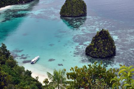 a boat on the sea, Wayag raja ampat west Papua Indonesia