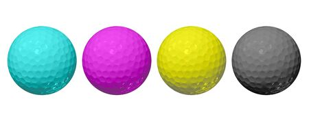 Golf ball in CMYK color 免版税图像