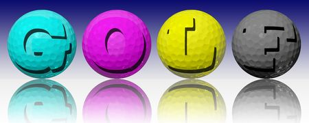 four color printing: Golf ball in CMYK color Stock Photo