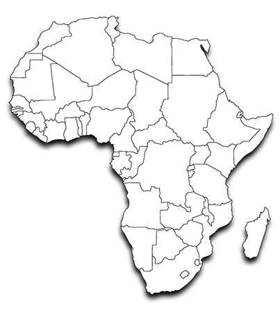 Illustration of map of Africa with country borders