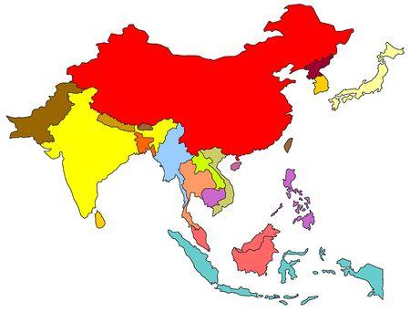 Kleur kaart van Zuid-Oost Azië  Stockfoto
