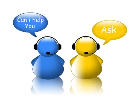 Ask help icon. Agent on phone Stock Photo - 8186038