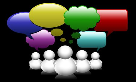 Social Network Media people group speech bubbles Stock Photo - 8186037
