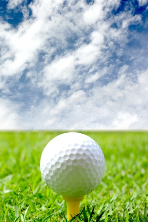 Golf ball on the course Stock Photo
