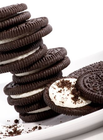 Chocolate cookies with creme filing  photo