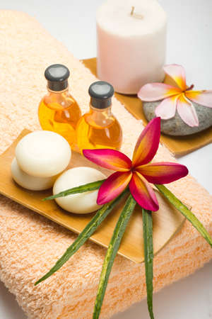 tropical spa with Frangipani flowers  photo