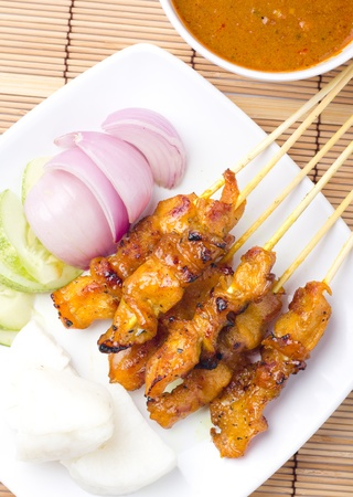 Delicious Asian Cuisine Chicken Satay  photo