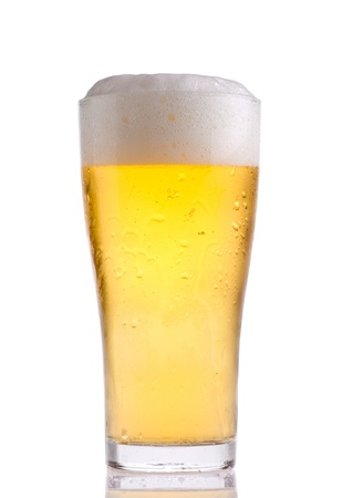 glass with beer on white background photo