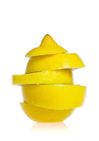 Fresh ripe lemons. Isolated on white background photo