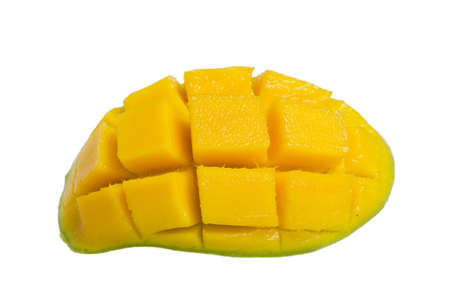 Fresh and colorful mango cut and cubed in its skin. photo