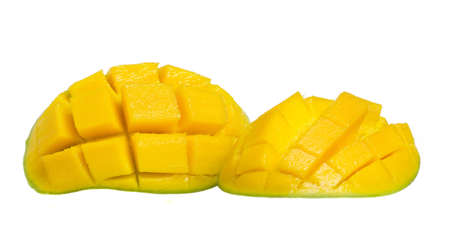 cubed: Fresh and colorful mango cut and cubed in its skin. Stock Photo