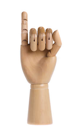 Wooden hand isolated on a white background photo