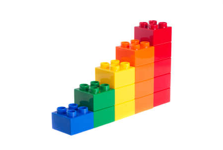 Plastic building blocks isolated on white background photo