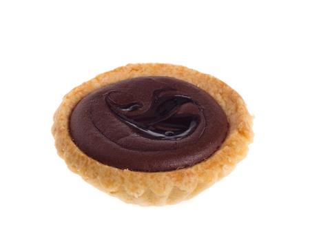 ganache: chocolate tart isolated on white background