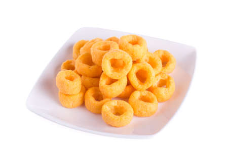 cheesy ring isolated on white background  photo