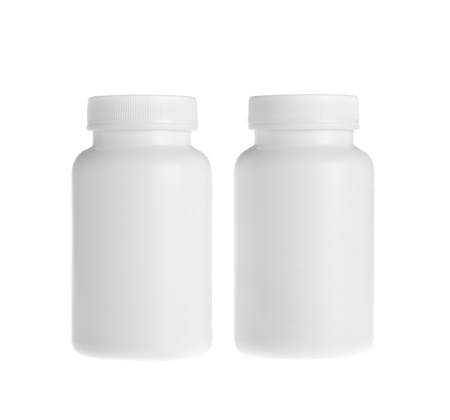 storage container: white pill bottle on white background