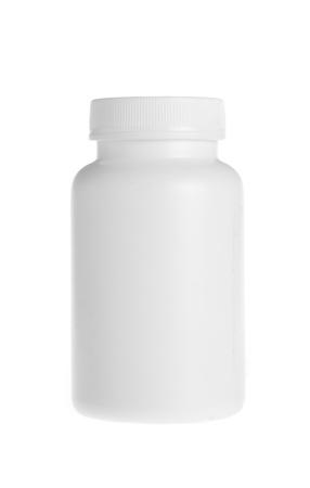 vitamina a: frasco de pastillas blancas sobre fondo blanco Foto de archivo