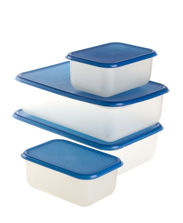 tupperware: Plastic Containers on Isolated White Background