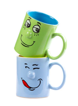 grin: Colorful isolated coffee cup with a grin