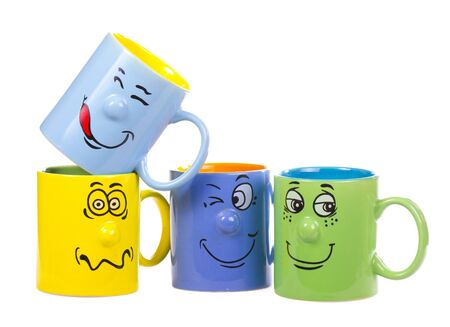 Colorful isolated coffee cup with a grin Stock Photo - 18515772