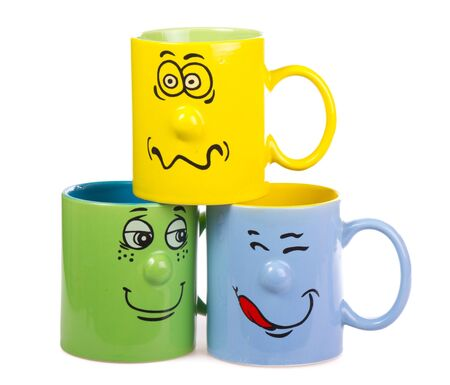 Colorful isolated coffee cup with a grin photo