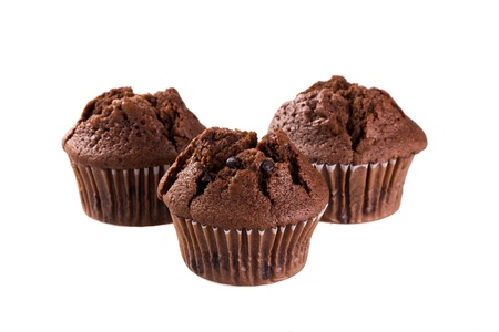 chocolate muffin isolated on white background Standard-Bild