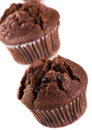 chocolate muffin isolated on white background 免版税图像
