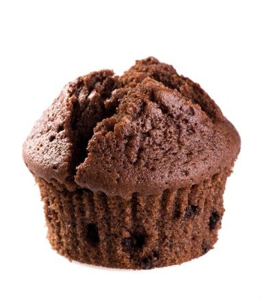 chocolate background: chocolate muffin isolated on white background Stock Photo
