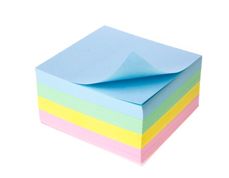 Block of vibrant multicoloured Post it Notes