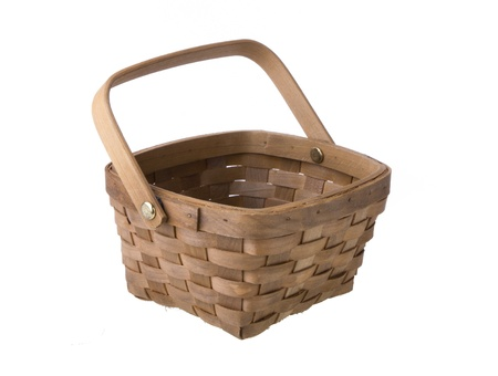 weaved: Wicker Basket Isolated On White Background