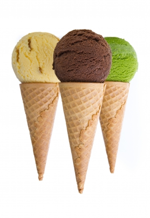 ice cream with cone on white background photo