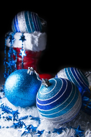 Blue Christmas with black background Stock Photo - 23572737