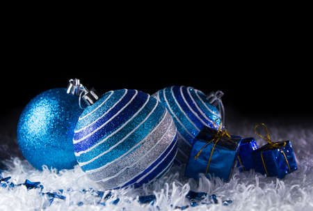Blue Christmas with black background Stock Photo - 23572738