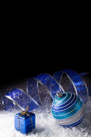 Blue Christmas with black background photo