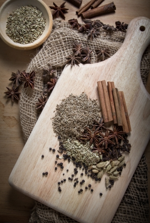 Cooking ingredients,spices on wooden table photo