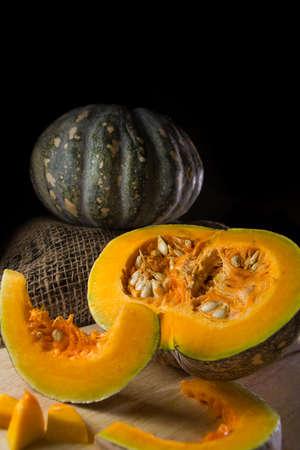 Pumpkin setup on black background Stock Photo