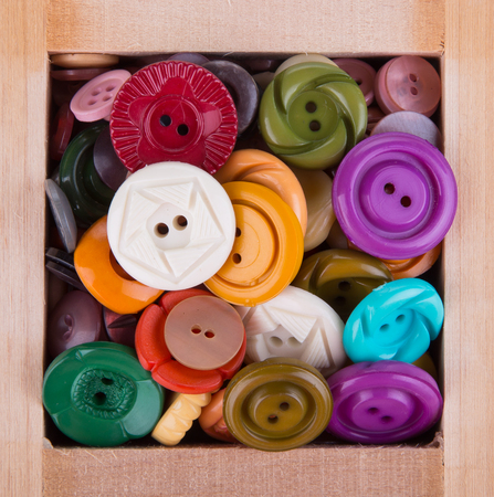 Various sewing button on white background. photo