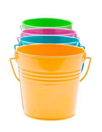 empty bucket isolated on white  photo