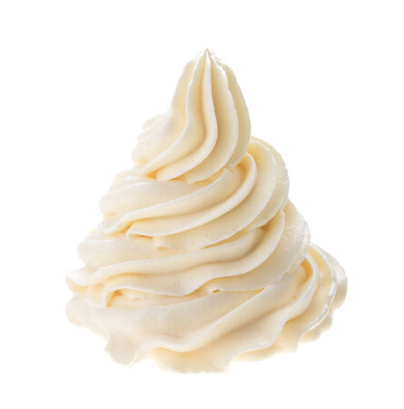 Whipped cream isolated on white background photo