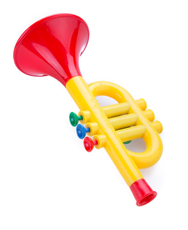 for children toys: Trumpet toy for kids isolated on white background