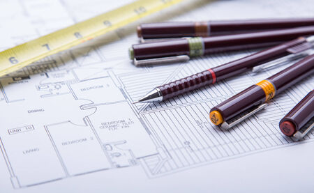 drafting tools: Concept of drawing. Blueprints and drafting tools.